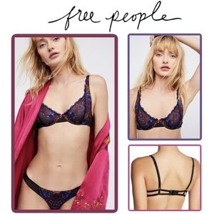 🖤 FREE PEOPLE•She Said• Floral Embroidered Bra